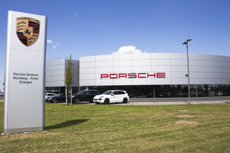 famous industries: Porsche car manufacturer. Porsche is a German sports car manufacturing company founded in 1931 Editorial