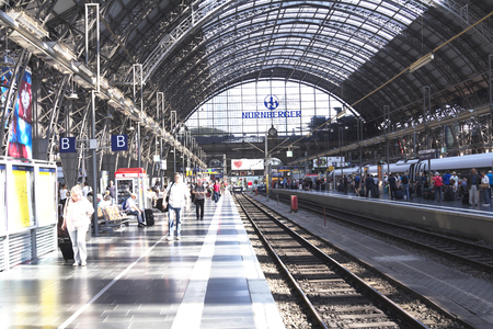 frequented: Inside the Frankfurt central station in Frankfurt, Germany. With about 350,000 passengers per day its the most frequented railway station in Germany.