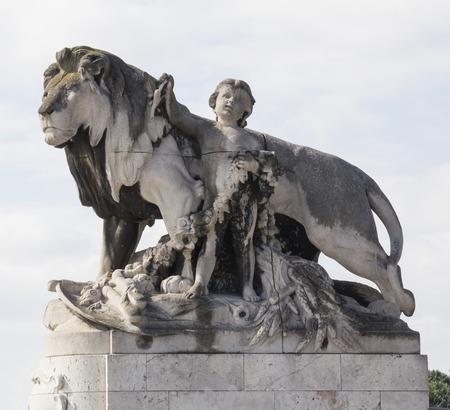 iii: Sculpture lion on the bridge Alexanders III in Paris. Photo with tilt-shift lens