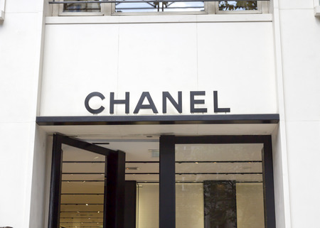 haute couture: Chanel shop in Paris. Chanel is a fashion house founded in 1909 specialized in haute couture and luxury goods,