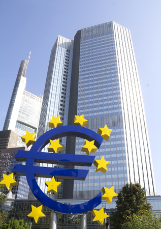 wallstreet: The Famous Big Euro Sign at the European Central Bank. The bank was established by the Treaty of Amsterdam in 1998; September 10, 2016 in Frankfurt, Germany.