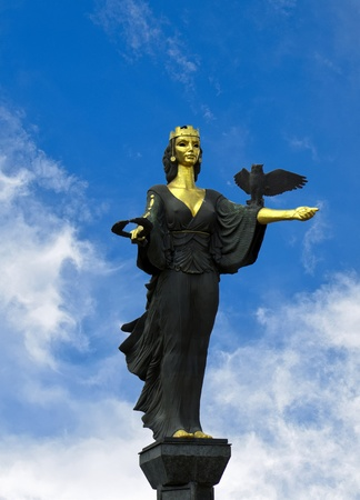 The Famous Statue of St. Sofia in Sofia, Bulgaria. The statue represents Saint Sofia, the goddess protector of the city Banco de Imagens
