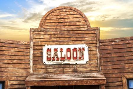 Western Saloon at sunset Stock Photo