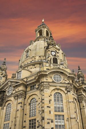 A View of The Dresden Frauenkirche (Evangelical-Lutheran Church of Saxony) in Dresden, Germany. Stock Photo