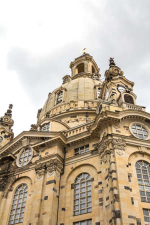 A View of The Dresden Frauenkirche (Evangelical-Lutheran Church of Saxony) in Dresden, Germany