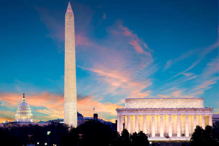 Lincoln Memorial, Monument and Capitol Building at night