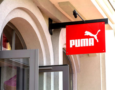 Ingolstadt, Germany : Puma outlet store. Puma is a major german multinational company that produces athletic, casual footwear, sportswear, headquartered in Bavaria, Germany