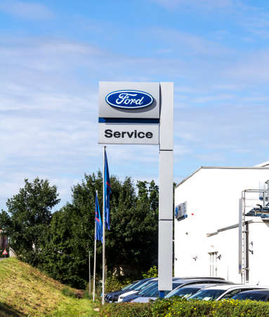 Furth, Germany: Ford dealership building. The Ford Motor Company is an American multinational automaker. It was founded by Henry Ford.