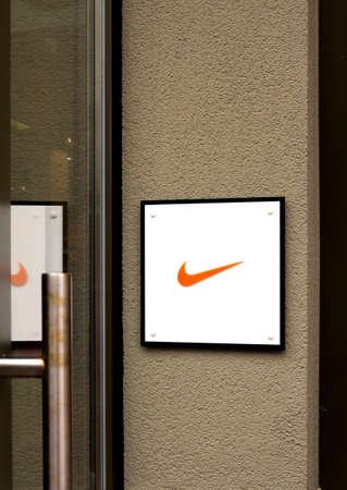 Ingolstadt : Nike logo sign on AUGUST 19, 2017 in GERMANY Nike Inc. is an American multinational corporation that is engaged in sales of footwear & apparel