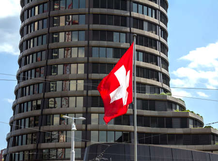 Basel, SWITZERLAND: Bank for International Settlements BIS, the tower building of the international financial institution owned by 60 central banks, operating in Basel since 1903