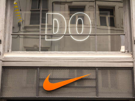 Brussels, BELGIUM : Nike logo. Nike is a global sports clothes and running at Nike stores are located all over the world Editorial