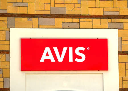 Ankara, Turkey : Avis logo on a wall. Avis is an American car rental company headquartered in New Jersey, United States