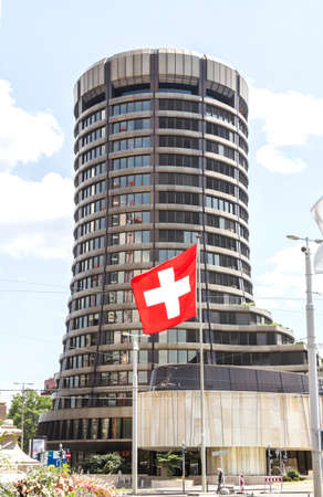 Basel, SWITZERLAND : Bank for International Settlements BIS, the tower building of the international financial institution owned by 60 central banks, operating in Basel since 1903.
