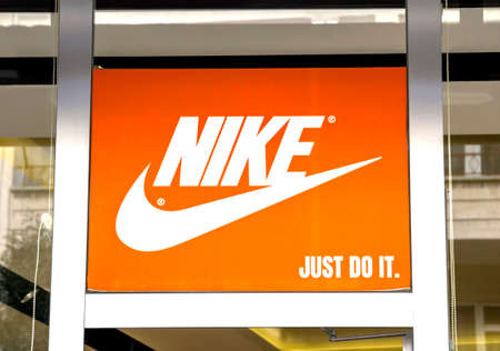 Ankara, Turkey : Nike logo. Nike is a global sports clothes and running shoes retailer. Nike stores are located all over the world Editorial