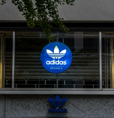 ROTTERDAM, NETHERLANDS : Signage on the front of an Adidas store in