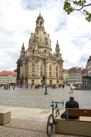 A View of The Dresden Frauenkirche (Evangelical-Lutheran Church of Saxony) in Dresden, Germany. Editorial
