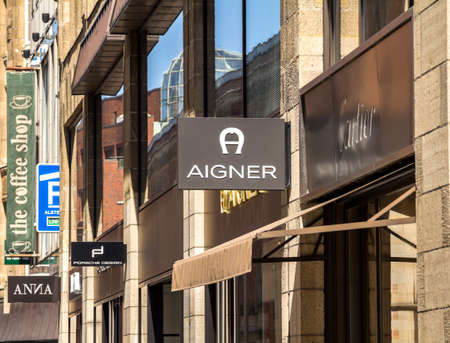 Hamburg, Germany: Aigner logo on Aigner's shop. Aigner is an international luxury fashion company