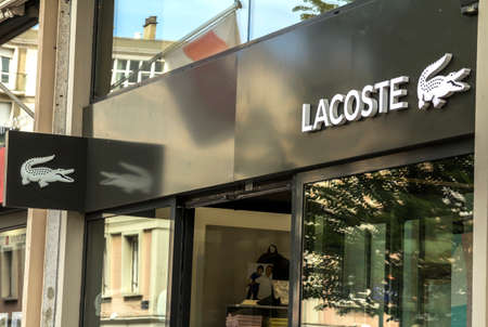Le Havre, France : Lacoste shop. Lacoste is a French clothing company, founded in 1933 by tennis player René Lacoste and André Gillier.