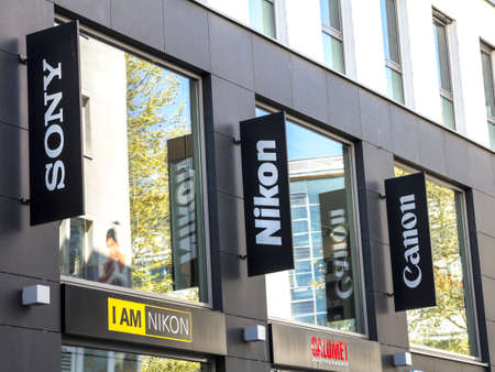 STUTTGART, GERMANY : Sony, Nikon, Canon logo on the shopping street of Stuttgart city center
