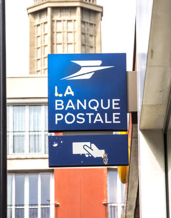 Le Havre, France : La Banque Postale signboard. La Banque postale is a French bank, created on 1 January 2006 as a subsidiary of La Poste, the national postal service