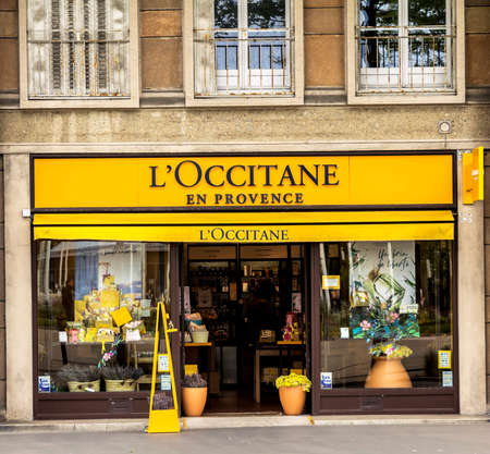 Le Havre, France : L'Occitane en Provence Store in Valencia. L'Occitane is an international retailer of body, face, fragrances and home products that preserves the traditions of Provence