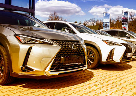 Nurnberg, Germany - LEXUS cars parked in front of car dealer. view of parked luxury cars in row. Editöryel