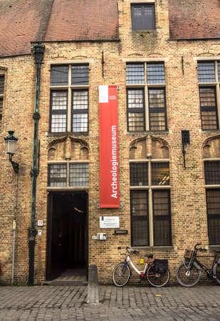 Bruges, Belgium : External sign of the Bier Museum, a museum dedicated to Belgian beer.