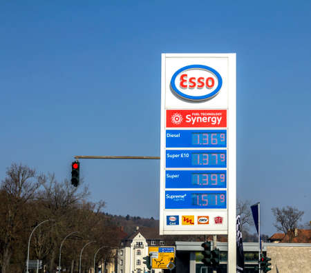 Schwandorf, GERMANY: ESSO gasoline station. ESSO is a trading name for ExxonMobil and its related companies