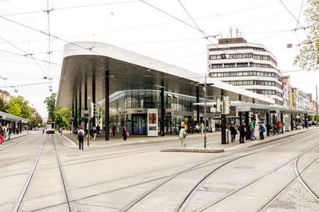 Augsburg, Germany - May 2019: Modern bus station at the Koenigsplatz in Augsburg, Germany