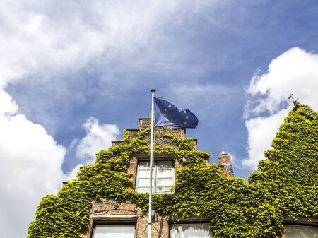 European Union flag waving Bruge, Belgium