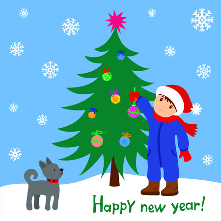 Boy with a dog near christmas tree Vector