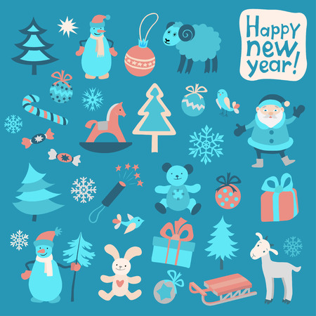 party poppers: Set of Color New Year Icons-II Illustration