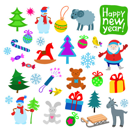 party poppers: Set of Color New Year Icons