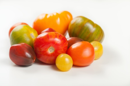 heirloom: A group of assorted organic heirloom tomatoes. Stock Photo