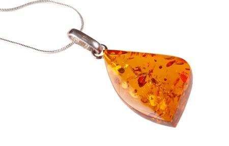 Amber pendant isolated on white