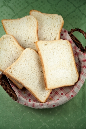Slices of toast bread on a basket