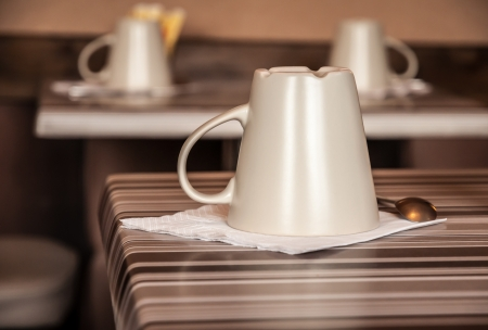 Cup on a table ready for breakfast Stock Photo