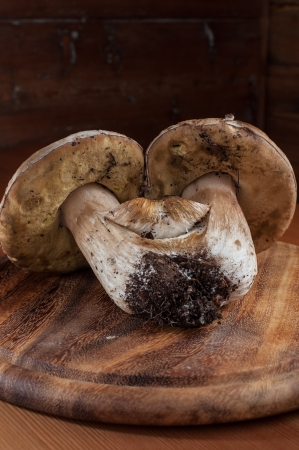 mountainy: Porcini mushrooms on a wooden cutting board