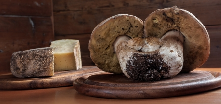 Porcini mushrooms on a wooden cutting board and cheese in the background