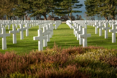 American military cemetery of the fallen during the landing in Normandy on D Day Editorial