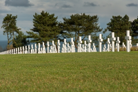 American military cemetery of the fallen during the landing in Normandy on D Day Stock Photo