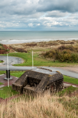 omaha: Remains of a German bunker at Omaha Beach