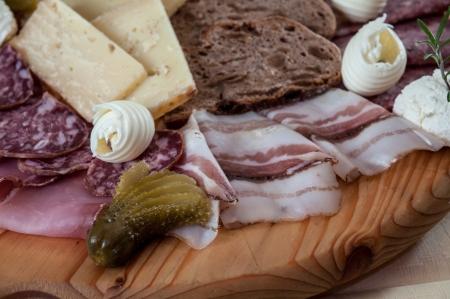 Traditional Italian cold cut on wood cutting board Stock Photo