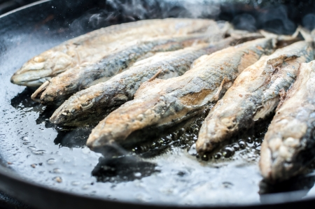 d: Fillet of mackerel fried in restaurant kitchen Stock Photo