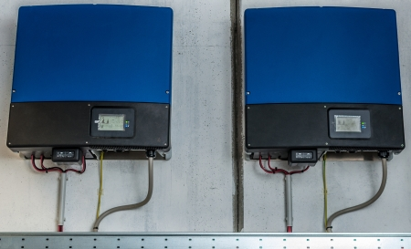 photovoltaic: Inverter of an industrial photovoltaic system installed and wired