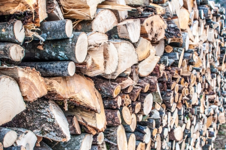 Stack of firewood for wood stove or fireplace