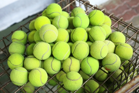 numerous: Photograph of numerous tennis balls from above