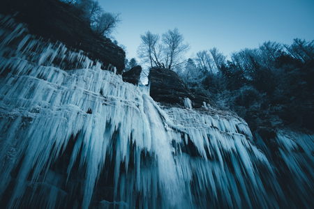 water frozen: Icicles of frozen waterfall (Pericnik waterfall, Slovenia).