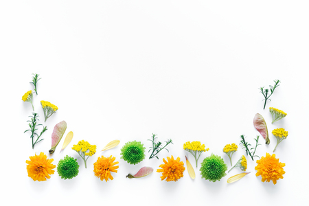 Border with colorful flowers on white background. Stock Photo