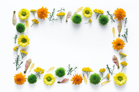 Creative frame with colorful flowers on white background.